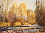 Woodland Stream Pastels Posters - Riverwood Poster by Doyle Shaw