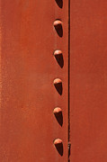 Rivet Metal Prints - Rivets in Orange Metal Print by Art Block Collections
