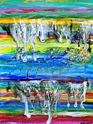 Drip Paintings - Rivulets and Rafts by Regina Valluzzi