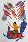 Gond Tribal Art Paintings - Rkt 06 by Ravi Kumar Tekam