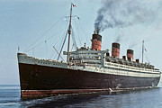 Luxury Liner Prints - RMS Queen Mary 1952 Print by Eric  Bjerke Sr