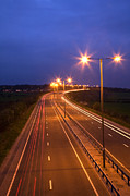 Highway Lights Prints - Road and Traffic at Night Print by Colin and Linda McKie