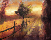 Tuscan Sunset Painting Metal Prints - Road at Sunset Florence Italy Metal Print by Christopher Clark