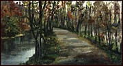 Pencil On Canvas Painting Prints - Road By a Slow Moving River 1997 Print by Cathy Peterson