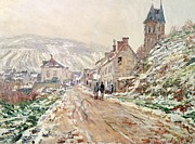 Chimneys Painting Posters - Road in Vetheuil in winter Poster by Claude Monet