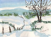 Snow Scene Painting Originals - Road less traveled by Rita Howard
