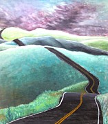 Long Street Painting Posters - Road on Rolling Hills Poster by MaryEllen Frazee