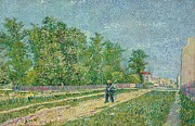 Suburbs Paintings - Road on the edge of Paris by Vincent Van Gogh