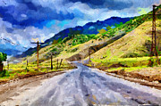 Asphalt Paintings - Road painting by Magomed Magomedagaev