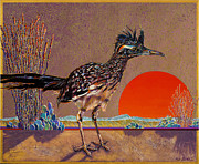 Desert Wildlife Paintings - Road Runner at Sundown by Bob Coonts