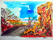 Nature Scene Drawings Prints - Road somewhere in the Kimberley Northern Territory Print by Roberto Gagliardi