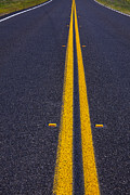 Roadway Posters - Road stripe  Poster by Garry Gay