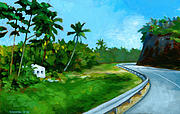 Tropical Trees Posters - Road to Las Terrenas Poster by Douglas Simonson