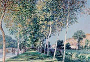 Perspective Paintings - Road to Louveciennes  by Alfred Sisley