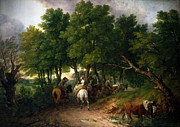 Thomas Mixed Media Metal Prints - Road to Market Painting Metal Print by Thomas Gainsborough
