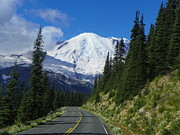 Mount Washington Mixed Media Prints - Road to Mount Rainier Print by Photography Moments - Sandi
