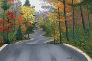 Fall Leaves Pastels Framed Prints - Road to Northport Framed Print by George Burr