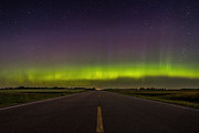 Highway Lights Prints - Road to Nowhere - Aurora Borealis Print by Aaron J Groen