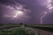 Lightning Posters - Road to Nowhere - Lightning Poster by Aaron J Groen