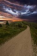 Road Posters - Road to Nowhere - Stormy Little Bend Poster by Aaron J Groen