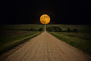 Orange Sky Posters - Road to Nowhere - Supermoon Poster by Aaron J Groen
