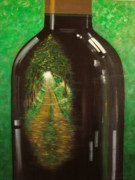 Wine Reflection Art Painting Originals - Road to Serenity by Ksusha Scott