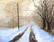 Snow Scene Pastels Metal Prints - Road to the Ice House Metal Print by Jack Skinner
