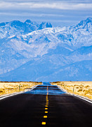 Yellow Line Photo Prints - Road to the Mountains Print by Alexis Birkill