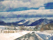 Winter Roads Posters - Road To The Mountains Poster by Kathy Jennings