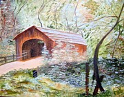 Gravel Road Paintings - Road travel through the Bridge by Carolyn Taylor