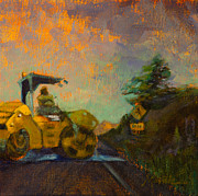 Asphalt Paintings - Road Work Ahead by Athena  Mantle