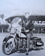 Motorcycle Cowboy Prints - Roadking of Vegas Print by Charles Rogers