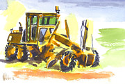 Machinery Metal Prints - Roadmaster Tractor in Watercolor Metal Print by Kip DeVore