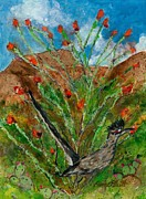 Roadrunner Paintings - Roadrunner and Ocotillo by Elaine Elliott