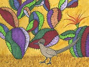 Roadrunner Paintings - Roadrunner and Prickly Pear Cactus by Susie Weber