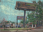 Park Pastels Prints - Roadside Billboards Print by Donald Maier