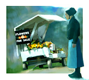 Amish Digital Art Framed Prints - Roadside Flower Stand Alternate Version Framed Print by Bob Salo