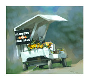 Farm Stand Digital Art Posters - Roadside Flower Stand Poster by Bob Salo