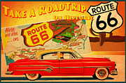 Vintage Auto Posters - Roadtrip Poster by Cinema Photography