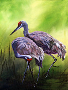 Crane Painting Originals - Roamin in the Gloamin by Sharon Burger