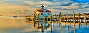 Lighthouse Art - Roanoke Marsh Lighthouse Dawn by Nick Zelinsky