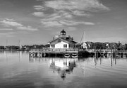 Shallowbag Bay Framed Prints - Roanoke Marshes Light 3 BW Framed Print by Mel Steinhauer