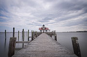Shallowbag Bay Framed Prints - Roanoke Marshes Lighthouse at Manteo Framed Print by Curt Fleenor