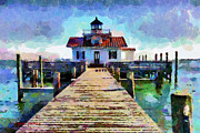 North Sea Paintings - Roanoke Marshes Lighthouse by Lynne Jenkins