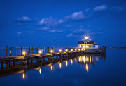 Royal Blue Framed Prints - Roanoke Marshes Lighthouse Manteo NC - Blue Hour Reflections Framed Print by Dave Allen