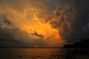 Storm Clouds; Sunset; Twilight; Water Metal Prints - Roar of the Heavens Metal Print by Terri Gostola