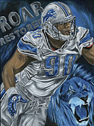 Detroit Lions Paintings - Roar Restored by David Courson