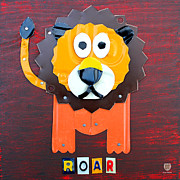 Animal Mixed Media Metal Prints - Roar the Lion License Plate Art Metal Print by Design Turnpike