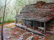 Gatlinburg Painting Framed Prints - Roaring Fork Cabin Framed Print by Sherry Robinson