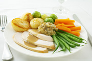 Sprouts Posters - Roast Chicken Dinner Poster by Colin and Linda McKie